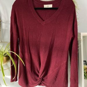 Front knot v-neck sweater